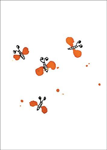 Vrolijke geïllustreerde vlinderkaart als verjaardag of wenskaart • ook voor het rechtstreeks verzenden met uw persoonlijke tekst als inlegger. • Elegante verjaardagskaart met envelop voor vrienden en familie