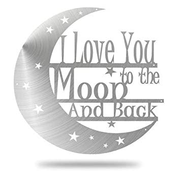 Love You to the Moon and Back Words Cutting Die Hanging Stars in Circle Frame