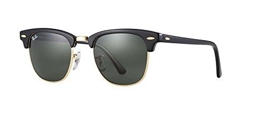 Ray-Ban RB3016 Clubmaster Sunglasses (49 mm, Tortoise Frame Solid Black G15 Lens) Ê