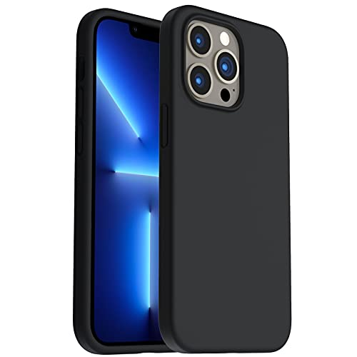 ORNARTO Shockproof Liquid Silicone Designed for iPhone 13 Pro Case Gel Rubber Full Body Protection Anti-Shock Cover Case Drop Protection 6.1inch-Midnight