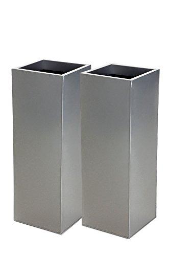 Vivanno 2er Set Zink Blumenkübel Pflanzkübel Block Design 65 cm, Silber