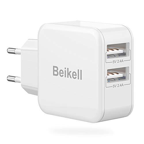 Beikell Cargador USB Pared con 2 Puertos, Cargador Móvil USB Múltiple Red Rápido 5V/2.4A Enchufe Multipuerto Europeo para iPhone, Huawei, Xiaomi, Samsung, iPad, Tablet y Más Dispositivos con USB