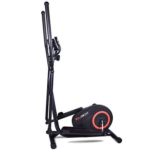 BOUDECH Bici Cyclette ellittica Stepper Cross Trainer con Schermo LCD e Software di monitoraggio Allenamento. Attrezzo bruciagrassi Cordless con Resistenza Regolabile su più Livelli.