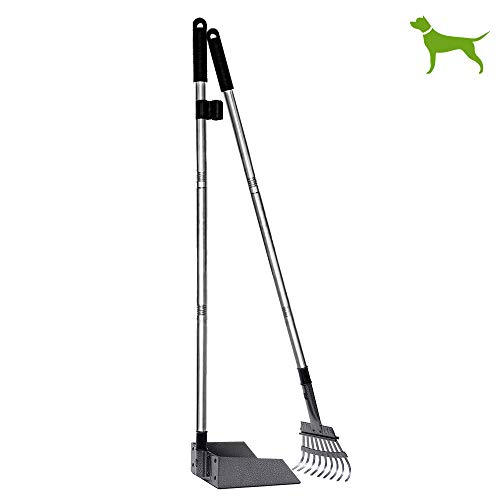 NZQXJXZ Pooper Scooper 47.2 Inches, Pet Poop Tray and Rake with Long Handle, Pet Waste Removal Scoop for Large Dog Small Dog