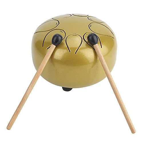 Tambor de lengua de acero,kit de tambor de acero de percusión de tambor de tanque pequeño de 5 pulgadas con baquetas, adhesivo de tono y bolsa de viaje acolchada para meditación, entretenimiento(2#)