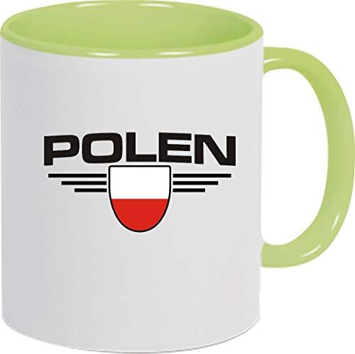 Shirtstown Kaffeepott, Polen, Wappen, Land, Länder, Tasse Pott Kaffeetasse Teetasse Spruch Sprüche Logo, Fussball, Verein, Sport, Farbe Hellgrün