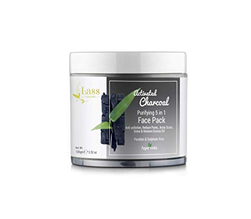 Lass Naturals Activated Charcoal Purifying 5-in-1 Face Pack 100 gm - No Paraben & Sulphate