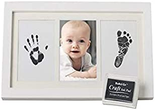 Baby Handprint and Footprint Frame Package - Baby Prints Photo Keepsake in White with Non-Toxic Ink Pad