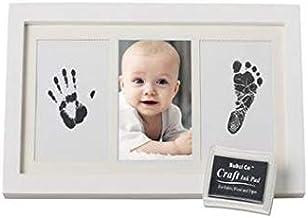 عبوة باطار مطبوع عليه بصمة اليد والقدم للاطفال -تذكار بصور الاطفال المطبوعة باللون الابيض مع علبة حبر غير سام.
