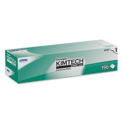 Kimtech 34133 Kimwipes Delicate Task Wipers, 1-Ply, 11 4/5 x 11 4/5, 196 per Box (Case of 15 Boxes) , White