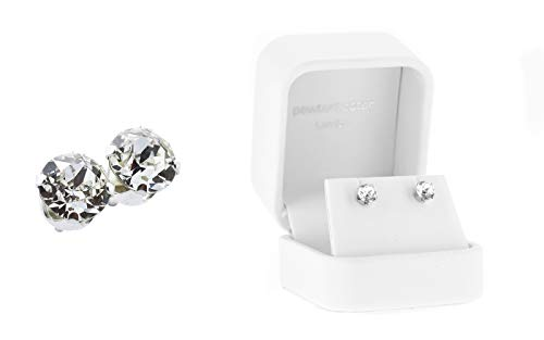 pewterhooter women's 925 Sterling silver stud earrings made with sparkling crystal from Swarovski. White Gift box. Made in the UK. Hypoallergenic & Nickle Free for Sensitive Ears.