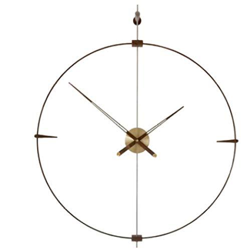 Fnho Reloj de Pared Moderno silenciosa No-Ticking,Reloj de Pared Decorar La Oficina Mute DIY,Reloj de Pared de Aire Extremadamente Simple, Mesa de Puntero Creativo-Cobre Core_80cm
