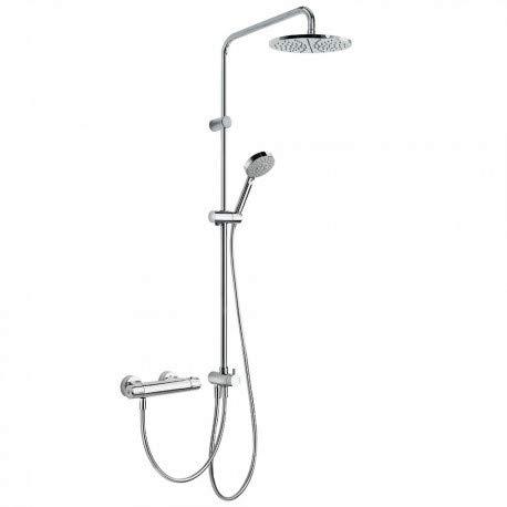 Tres 190385 - Conjunto ducha termostática (Ducha fija225mm, ducha móvil masaje 100mm, 5funciones)