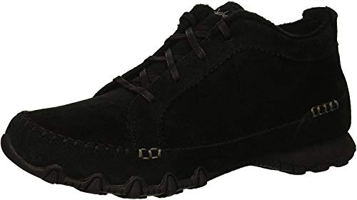 Skechers Women's Bikers-Lineage-Moc-Toe Lace-Up Chukka Boot, black, 8 M US