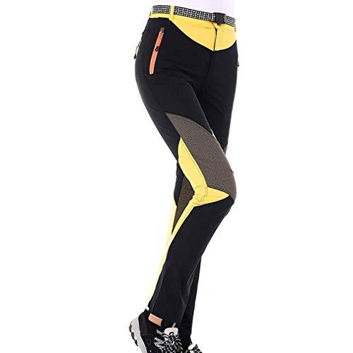 CIKRILAN Femmes Outdoor Séchage Rapide Respirant Sports Trousers Dames Léger Casual Voyage Camping Randonnée Pantalon (L, Jaune)