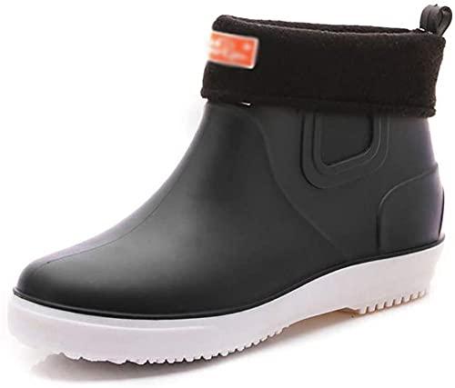 Zapatos de goma Pesca Botas de lluvia Impermeable Unisex Slip-On Lightweight para hombres y mujeres Ladies Wellibob Wellington Botas Ankle Chelsea Botines Zapatos de jardín-Negro_44 i Baifantasti