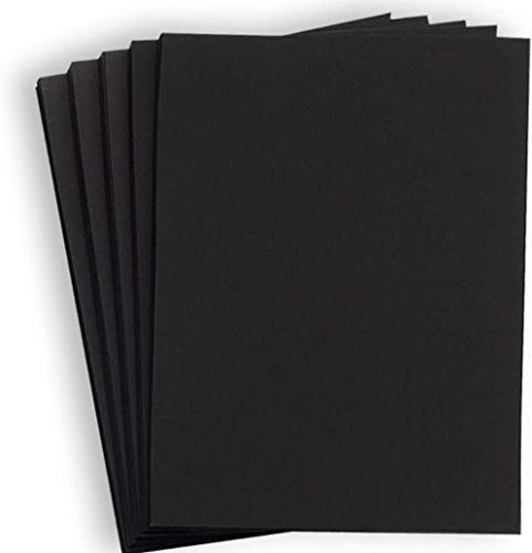 Hamilco Black Colored Cardstock Thick Paper - 8 1/2 x 11' Heavy Weight 80 lb Cover Card Stock - for Scrapbook Craft Calligraphy or Chalkboard Papers for Printer - 50 Pack