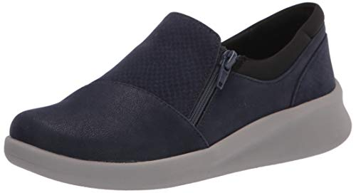 Clarks Women's Sillian 2.0 Day Loafer, Navy Synthetic Combi, 8.5