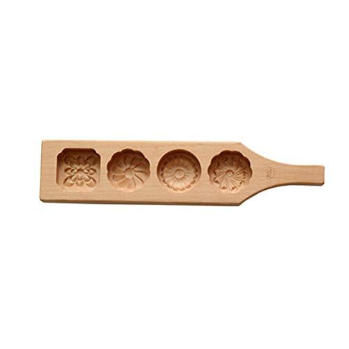 BESTONZON 4 Blumen Holz Muffin Mondkuchen Tassen Handgemachte Seife Formen Keks Schokolade Eis Kuchen Form