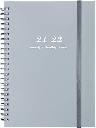 Agenda 2021-2022 - de julio de 2021 a junio de 2022, agenda semanal y mensual con pestañas, cierre elástico y papel grueso, bolsillo trasero con 21 páginas de notas, 5 x 8