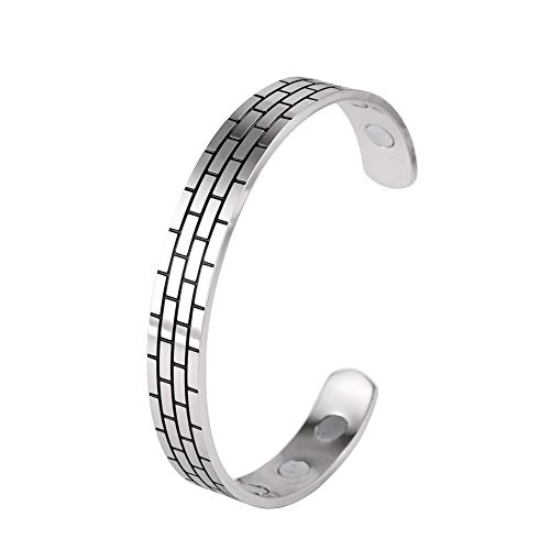 cooltime Stainless Steel Magnetic Therapy Bracelet Wall Geometric Bangle Cuff for Women and Men (Silver)