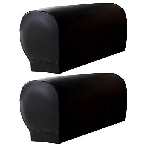 Hanshin Fundas de reposabrazos para sofá elásticas universales de 2 Piezas, Fundas de Cuero para sofá Impermeables de Cuero de PU, Protector de reposabrazos para Muebles de sillas, Gris/café/Negro