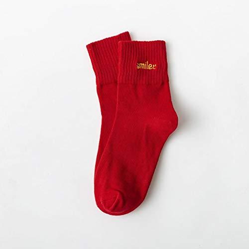 OJKM Stabiele Kerst Katoen Sokken Losse Vrouwen Sokken Rat Jaar Feestelijke Stepping Op De Man Gekamd Katoen Nieuwjaar Rode Sokken (Geen rood)