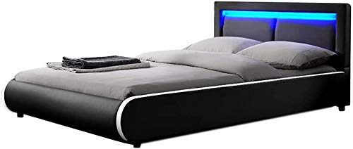 with mattresses, slats and LED-Wood and Artificial Leather Soft Bed - Double Bed housing Bed,Black-180 x 200 cm