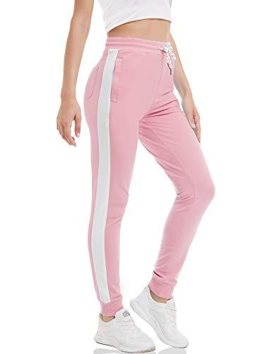 MAGCOMSEN Joggerhose Damen Leicht Fitnesshose Outdoor Jogger Sweathose Quick Dry Frühling Freizeithose Damen Pyjamahose Stretch Sporthose Lang Funktionshose mit Taschen Pink Weiß M