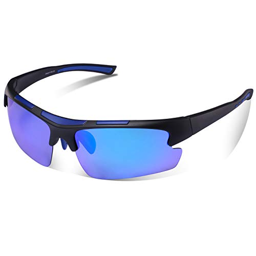 Gafas de Sol Deportivas, Carfia Gafas de Sol Deportivas Unisex Polarizadas con 100% Prtección UV400 para Viaje y Depoete al Aire Libre (A)