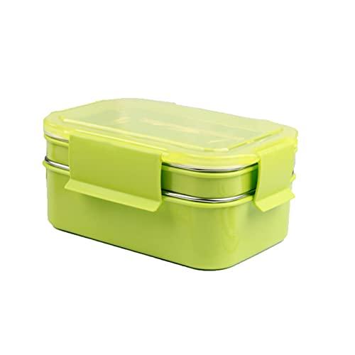 GXGX Bento Almuerzo Caja Almuerzo Lugar de Almuerzo Becgo Box Caja Almuerzo Adulto Almuerzo Caja de Alimentos RubberMaid Ensalada Almacenamiento Contenedor Metal Bento Bo Green