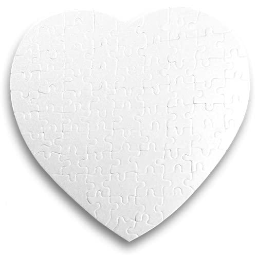 Kopierladen Puzzle a Forma di Cuore da Personalizzare, Puzzle Vuoto a Forma di Cuore, Puzzle Bianco, 75 Pezzi, ca. 190 x 190 mm