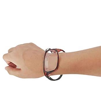 ZWH Foldable Wristband Reading Glasses Anti UV Blue Light Blocking Portable Collapsible Minimalist Magnifying Full Frame Wrist-Mounted for Men Women Folding Eyeglasses 2 Pair,A,200