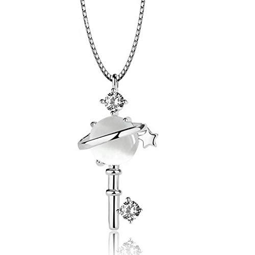 Collana in argento ragazze CrystalPlanet Collana con ciondolo chiave Gioielli da donna Collana in argento 925 alla moda Accessori per clavicola femminile