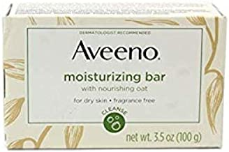 Aveeno Gentle Moisturizing Bar Facial Cleanser with Nourishing Oat for Dry Skin, Fragrance-free, Dye-Free, Soap-Free, 3.5 oz (Pack of 6)
