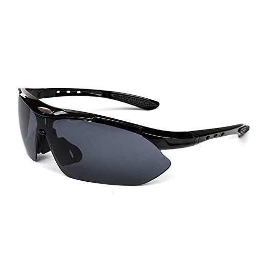 NSGJUYT Al Aire Libre Deportes Bicicleta de la Bici del Montar a Caballo for Hombre Gafas de Sol Gafas vidrios de Las Mujeres UV400 de la Lente (Color : Black)