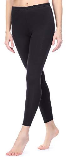 Ladeheid Damen Winterleggings Leggings mit Innenfleece aus Baumwolle LAMA06 (Schwarz, S/M)