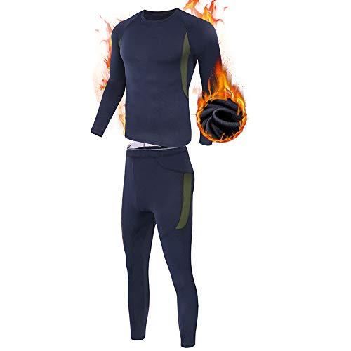 ESDY Thermo-Unterwäsche-Set für Herren, Wicking Long Johns Quick Dry Basisschicht-Sport-Kompressionsanzug für Workout Skifahren Laufen,Blau,L
