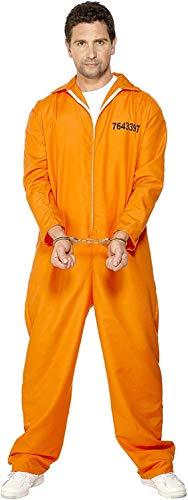 """Smiffys-29535L Disfraz de Prisionero huido, con Enterizo, Color Naranja, L-Tamaño 42""""-44"""" (Smiffy'S 29535L)"""