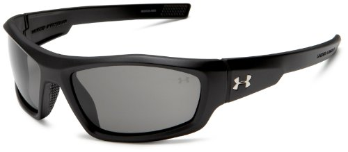 Under Armour Power Sunglasses Oval, Satin Black/Gray Lens, 60mm Lens Width/130mm Arm/35mm Bridge