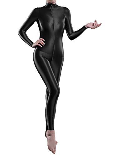 iiniim Damen Body Overall Nylon Langarm Ganzanzug Einteiler Jumpsuit Ballett Trikotanzug Tights Leggings Hose Schwarz Einheitsgröße
