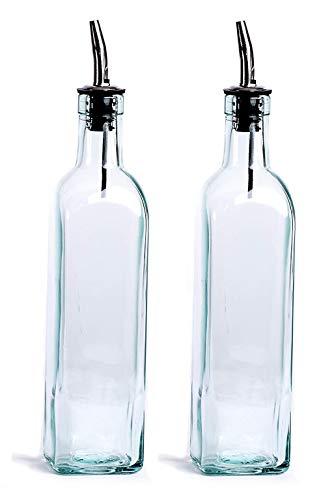 Avora Glass Oil Bottle - Oil Dispenser Set, Transparent, 500 ml, Set of 2