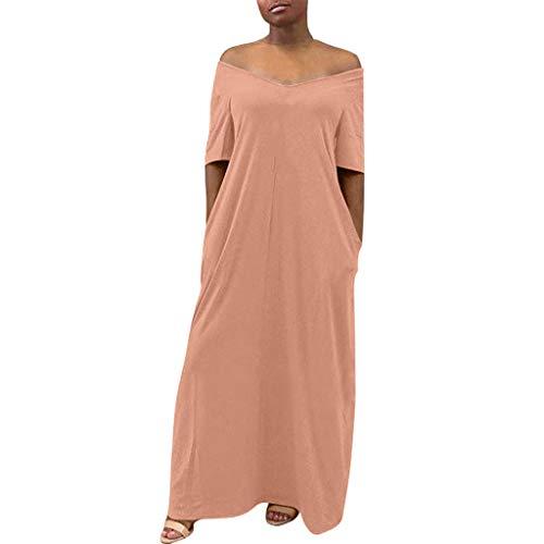 EDC Women's Simple Plain Solid Dresses Casual Loose Soft Short Sleeve V Neck Off Shoulder Maxi Pencil T-Shirt Dress with Pocket (Pink, XXL)