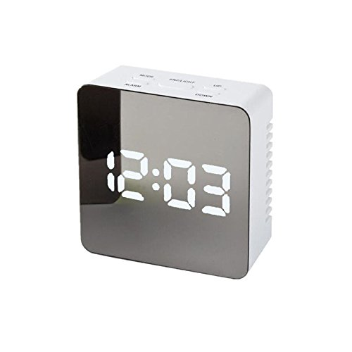 OurLeeme Alarme Unique LED Horloge numérique Night Light Miroir Lampe d'affichage avec thermomètre, Rectangle