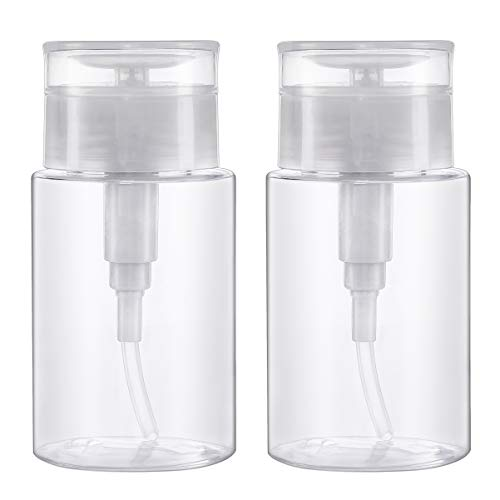 Dispensadores de Bomba Removedor de Esmalte de Uñas, Botella de Maquillaje Plástica Vacía Transparente, Empuje hacia Abajo para Quitaesmalte Alcohol para el Arte de Uñas, 2pcs