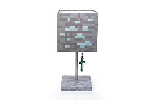 Minecraft Diamond Ore Block LED Lamp w/ 3D Diamond Sword Puller | 14-Inch Lamp