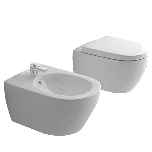 Spülrandloses Hänge-WC & Bidet mit Überlauf & Quick-Release D-Form WC-Sitz mit Absenkautomatik & inkl. Befestigungsmaterial | Komplett-Set | Rimless Toilette | Innovative Wasserführung