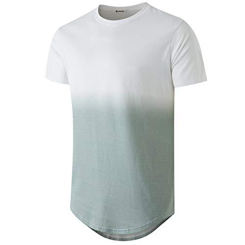 KLIEGOU Men's Fashion Hip Hop Color Block Stripe T-Shirt(82Green/White XL)