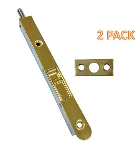 """QCAA Flush Bolt, 7"""", Brass Plated, Solid Brass Face Plate, 2 Pack"""