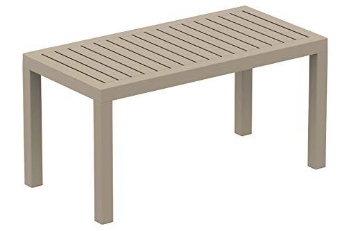 Table Lounge Ocean - Table de Jardin Résistante aux Intempéries et aux Rayons UV - Table de Terrasse ou Véranda en Plastique Solide - Coul, Couleur:Taupe